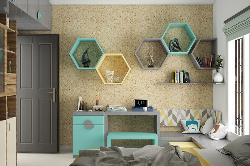 Small Study ideas design with decorative showcase on the wall