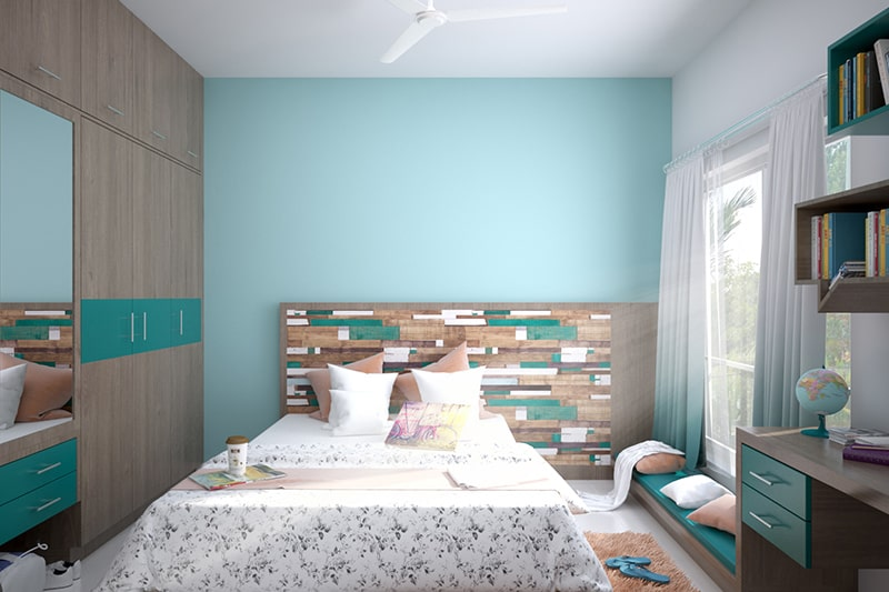 Paint your bedroom with aqua, it is a best wall paint colors for bedroom
