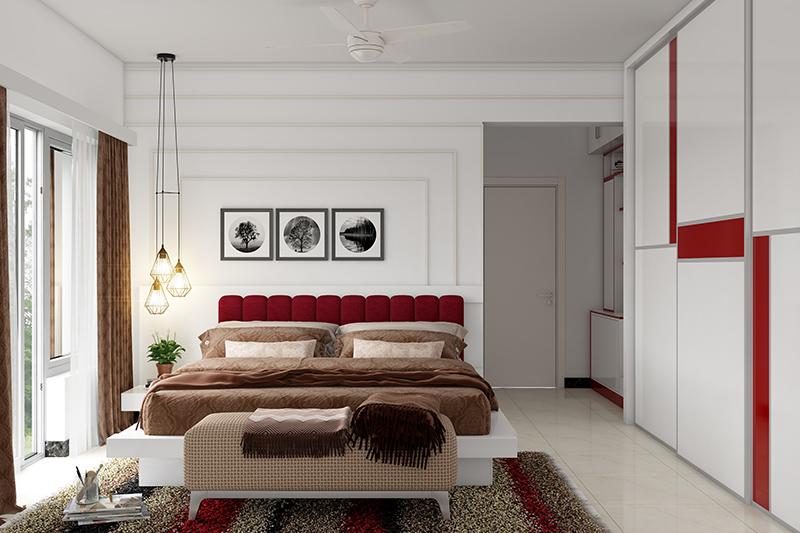 Newlywed home decor with a red colour bed for romance