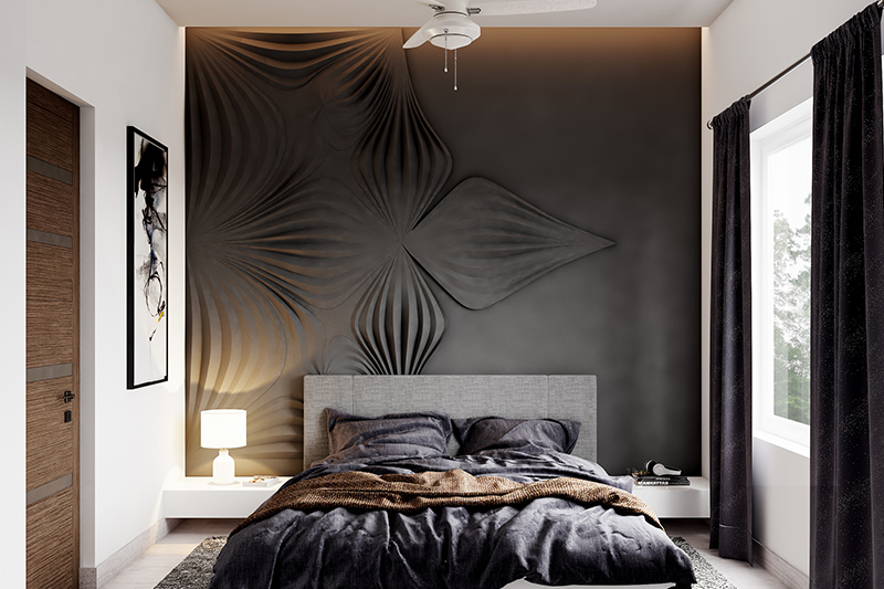 Newlywed bedroom decoration dark colour designed wall