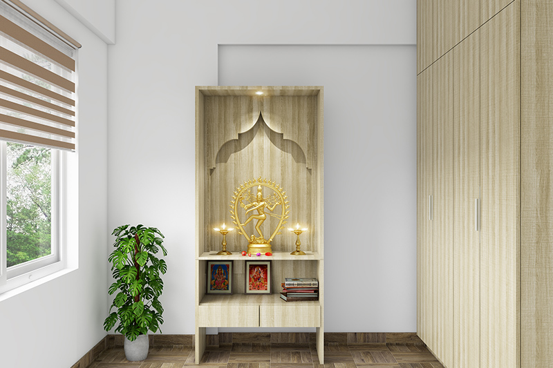 Vastu for pooja room in flats with a lot of space and the pooja unit in a cupboard