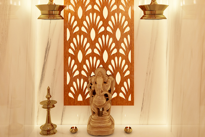 Pooja room vastu direction for your home with a metal made ganesha for vastu pooja