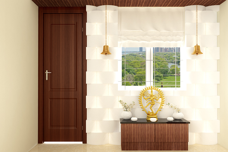 Pooja room door vastu with a bright background in pooja room vastu