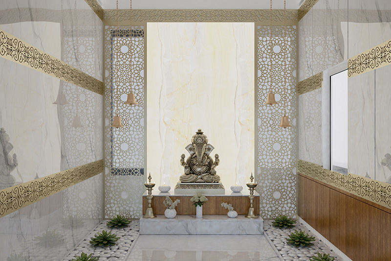 Pooja room vastu for north facing house with beautiful jali textures beside the moorthi and walls covered with marble for pooja room vastu