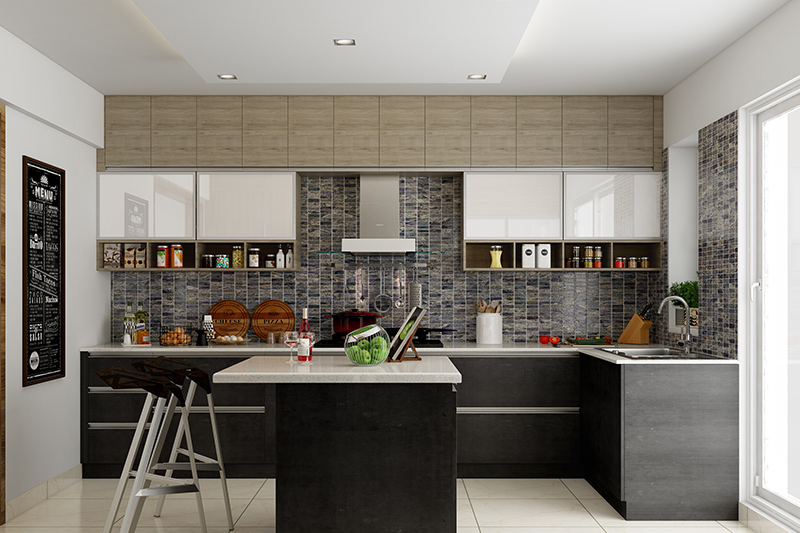 L shaped modular kitchen with an island which gives a space of complete balance for l shaped kitchen designs Indian homes