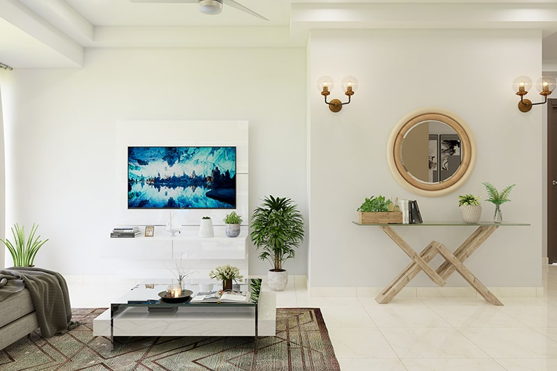 Mirror wall decor for living room gives more spacious than actually in your family living room