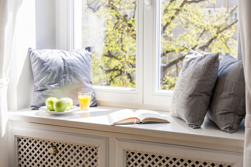 Low seating ideas where you can sit beside the window after waking up