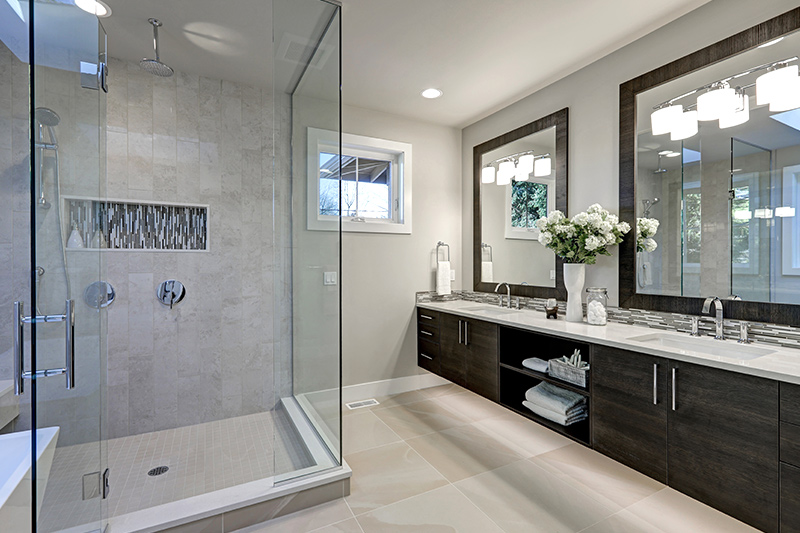 Bathroom storage ideas for your home with a separate shower cubicle which makes your bathroom look modern