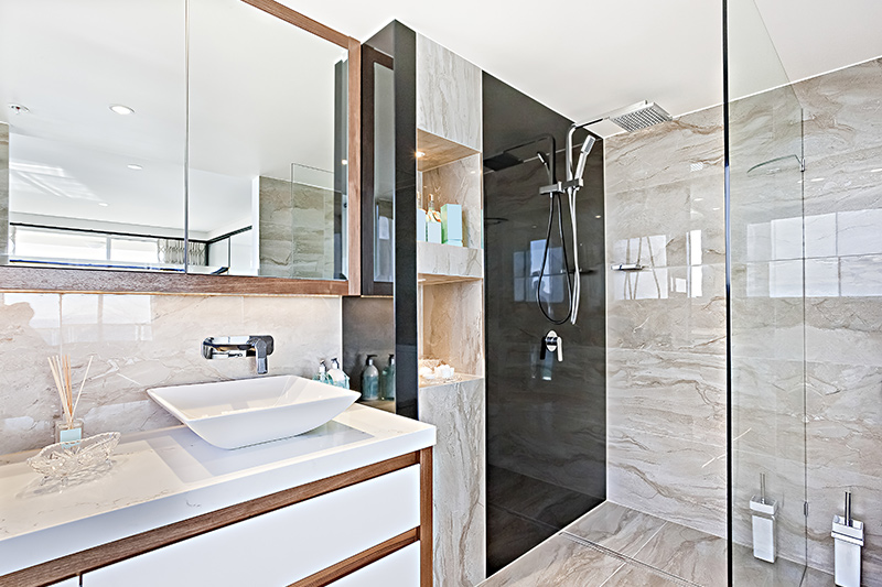 Small bathroom storage ideas where the shelves can be used to store bathing essentials for bathroom storage