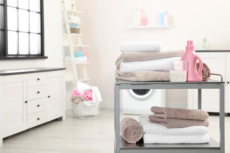Bathroom storage baskets where a small trolley is a cool storage option for your bathroom
