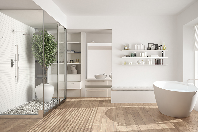 Hanging bathroom storage for your home with floating shelves which are sleek and minimal