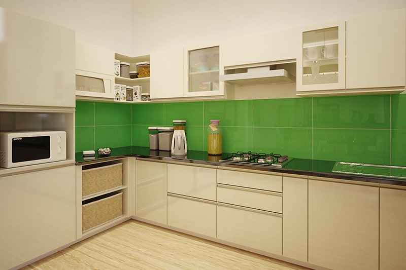 Vastu colours for kitchen, choose brick orange, silver, white, peach or woody green are the best colors according to vastu shastra for kitchen color