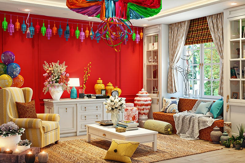 Lohri decor for living room with bells, ghungroos or lace to the dupattas for your lohri celebration