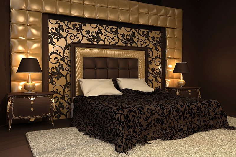Indian bedroom designs with stunning copper or gold backdrops to flame your bedroom design in india