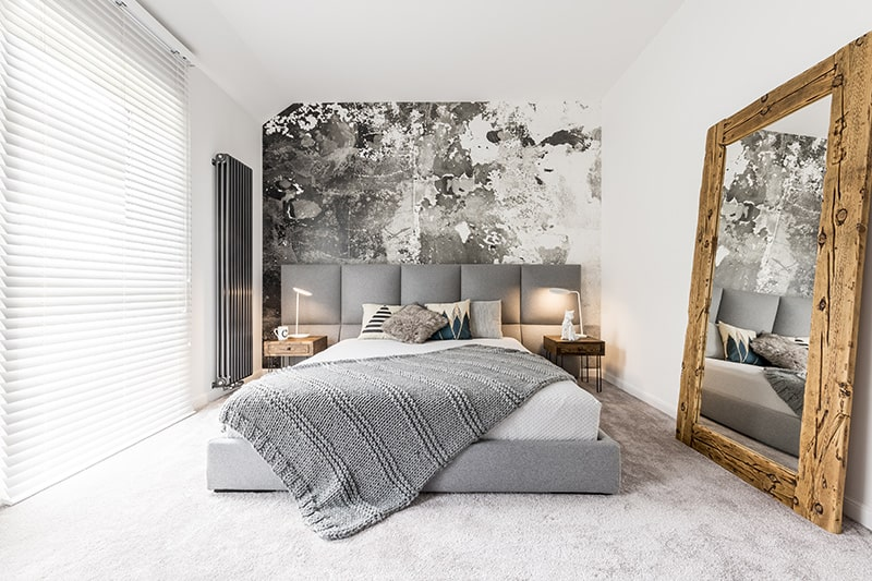 Bedroom design indian with an eccentric grey white backsplash that makes beautiful master bedroom designs india