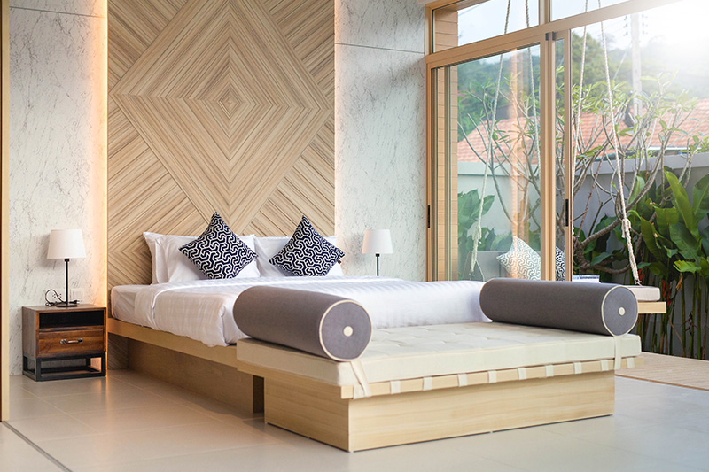 Bedroom decoration with a slick wooden panel with backlights for interior decoration ideas for bedroom