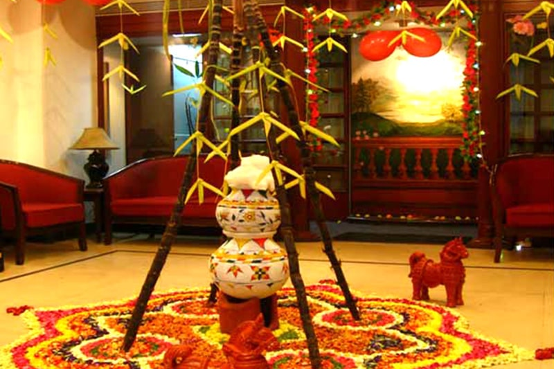 Makar sankranti decoration include pongal pot decoration in a large balcony or garden to celebrate sankranti or pongal
