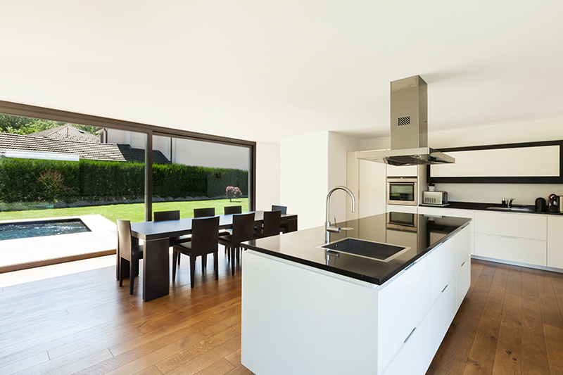 Open kitchen design photo gallery with a beautiful outdoor view with glass doors with open kitchen interior design