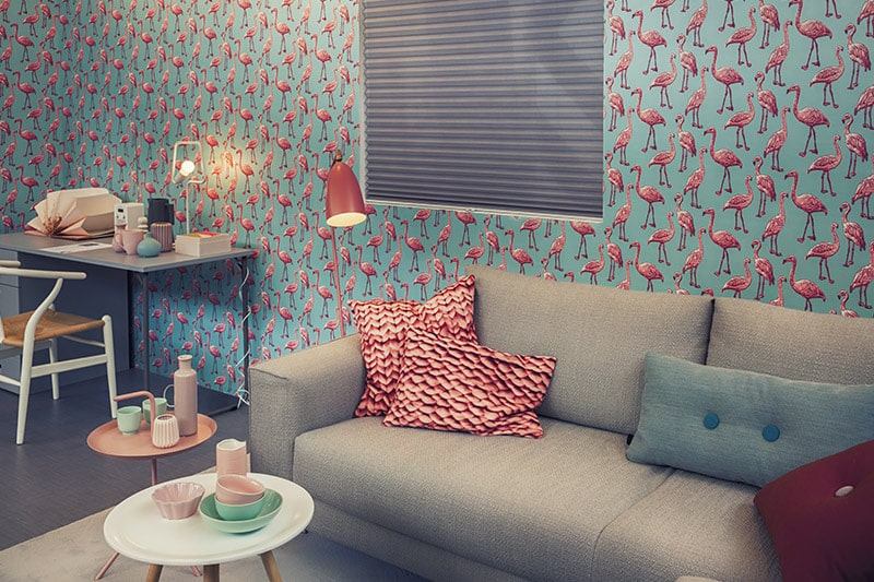 Blue printed living room wallpaper with flamingos makes best wallpaper for living room