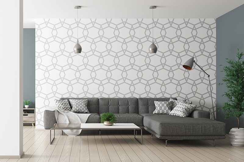 Geometric patterned living room wallpaper designs to bring evergreen style to your sitting room