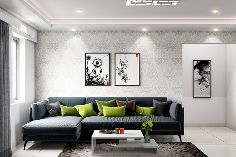 New living room trends with green colour cushions and beautiful textured walls with design trends