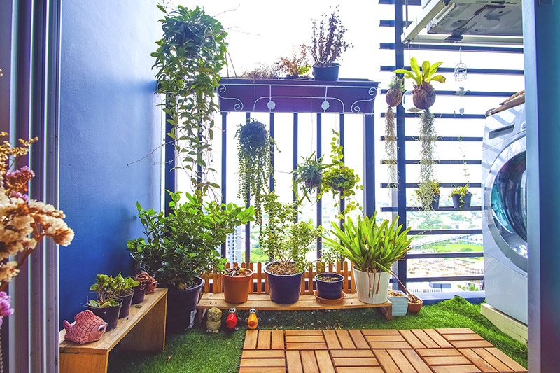 Balcony grill designs for apartments where you can hang your plants and flowers in hanging pots with modern grill design for balcony