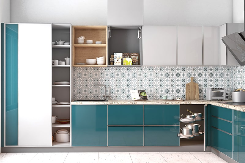 Kitchen cupboards designs with sliding door to store large pots, pans and more