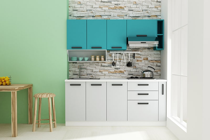 Mini modular kitchen cupboards design suitable for a small home or 1 bhk apartment