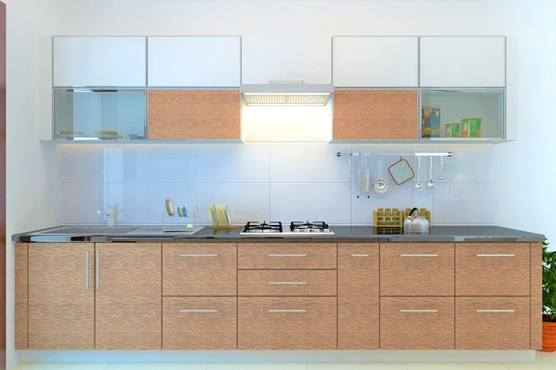 Kitchen sink cupboards for storage area, its located right below the sink