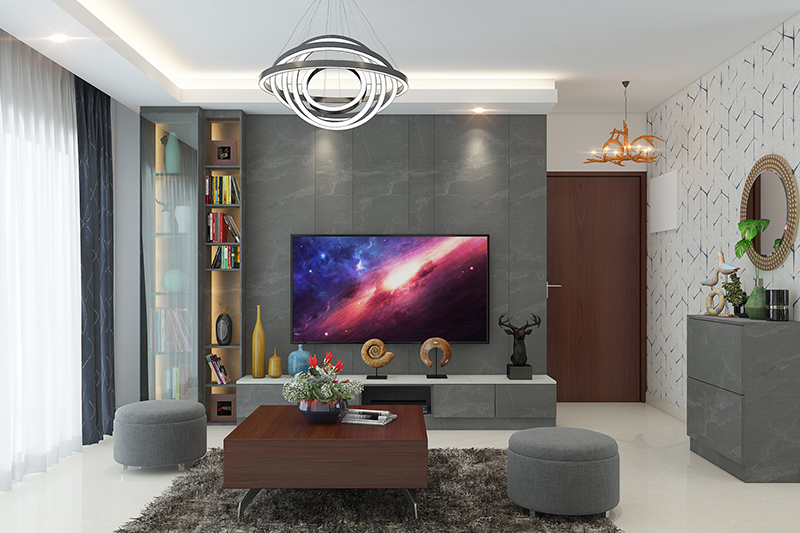 Showcase design for drawing room for l shape entertainment unit which is chic and compact for small showcase design for living room