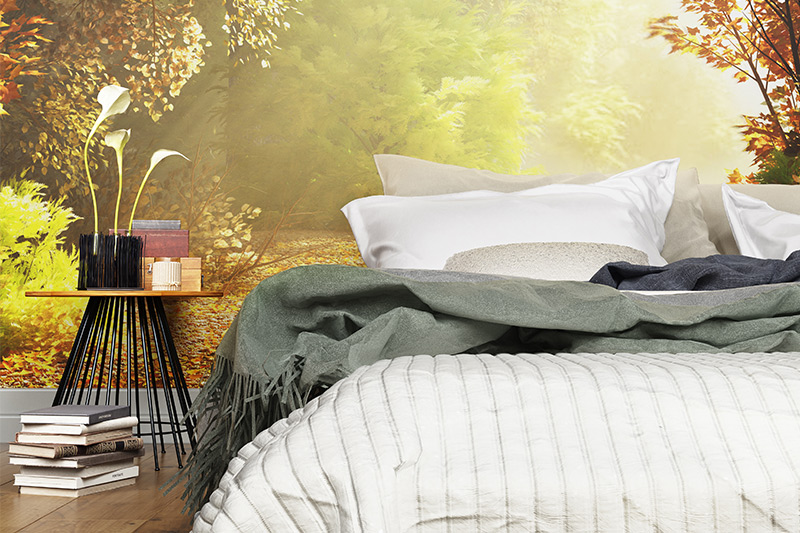 Bedroom wallpaper design for your home if you love to wake up in the middle of the forest