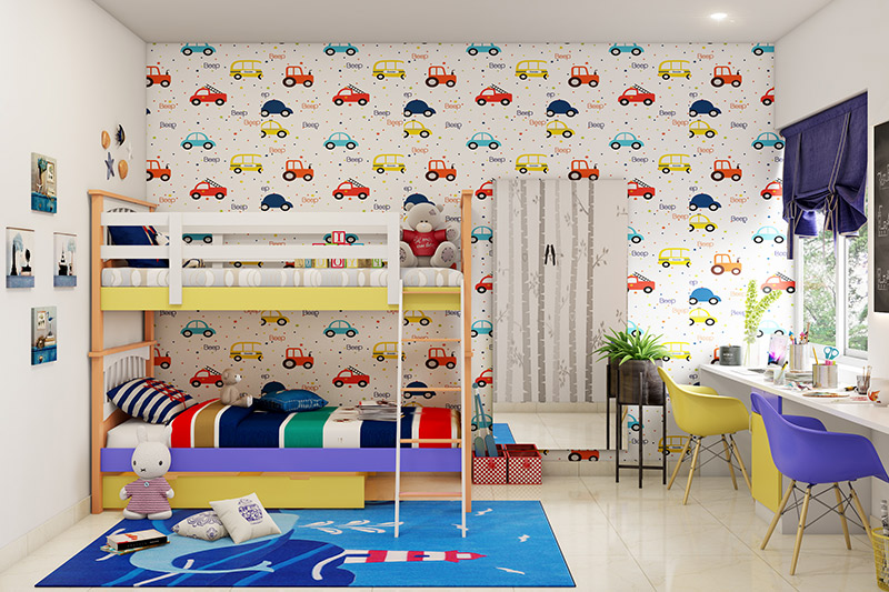 Best bedroom wallpaper to adorn your kids bedroom walls with this cars  wallpaper design for bedroom walls