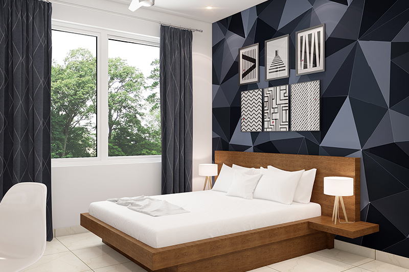 Wallpaper bedroom design with a large scale 3d effect abstract designed for stunning look for wallpaper design for bedroom