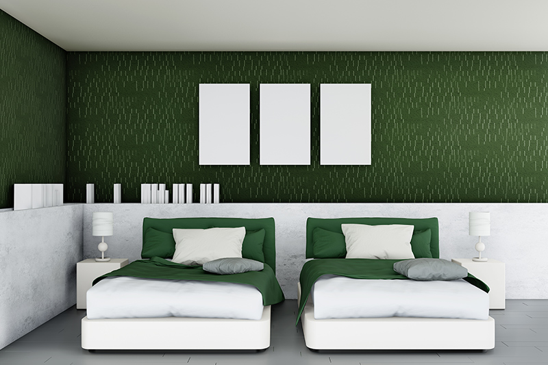 Bedroom wallpaper design images which adds green textured wallpaper design to your wallpaper for bedroom walls