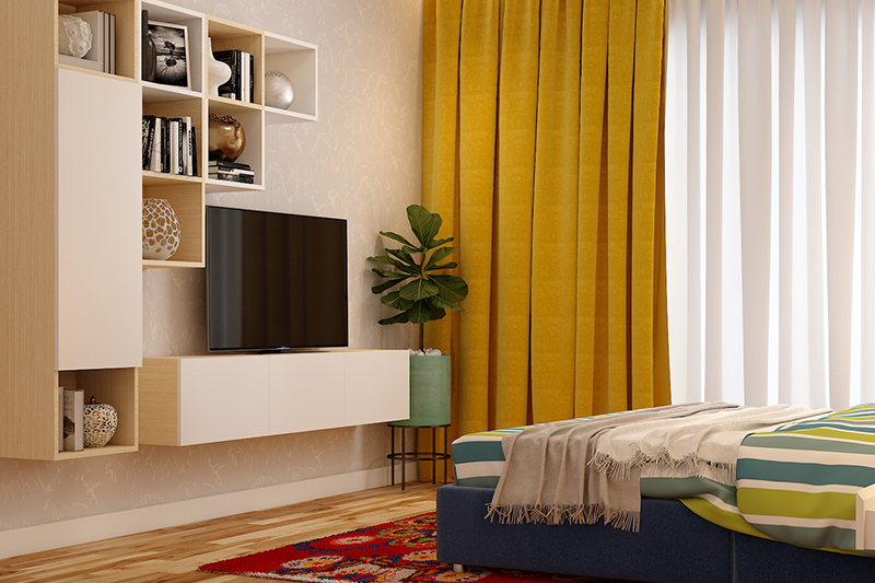 Bedroom wall design ideas for your home with an assortment of curios and books on your wall shelves for bedroom wall art decor