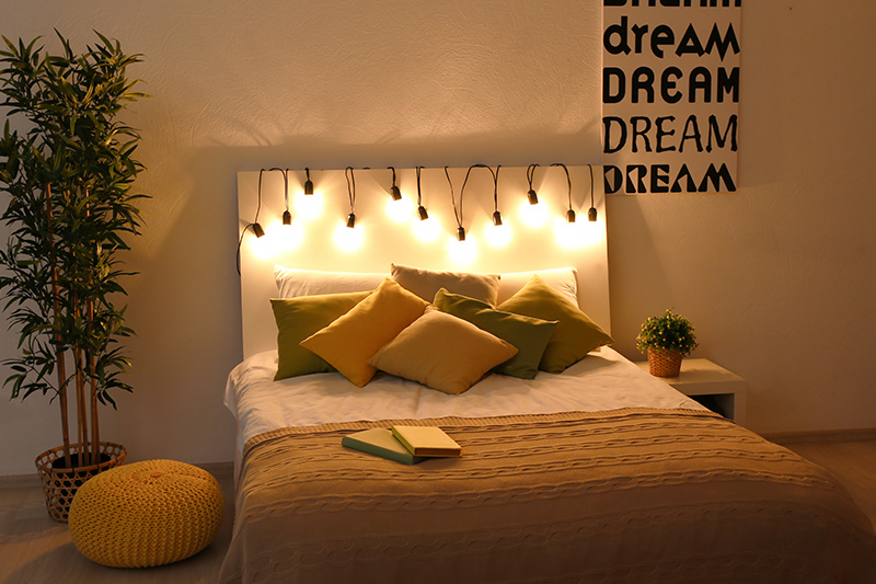 Homemade bedroom wall decoration ideas for bedroom where Fairy lights are a great option for bedroom wall decoration