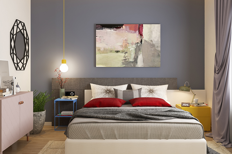 Bedroom wall decor ideas where you can adorn your bedroom wall with a modern painting and learn how to decorate bedroom walls with photos