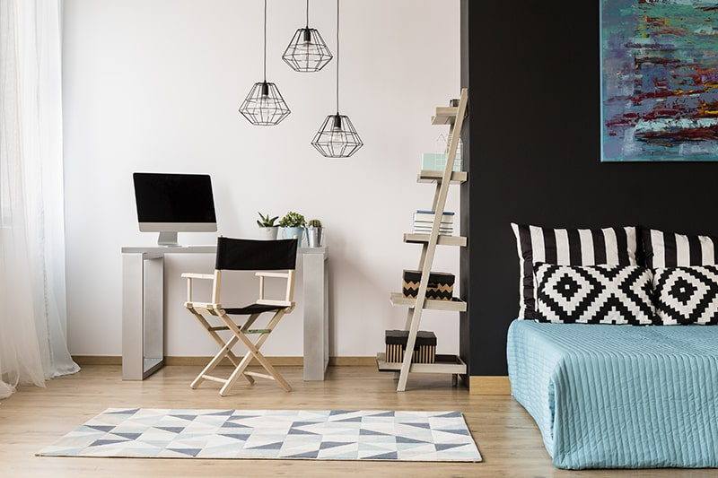 Peaceful study room design by adding pendant lights will provide good lighting