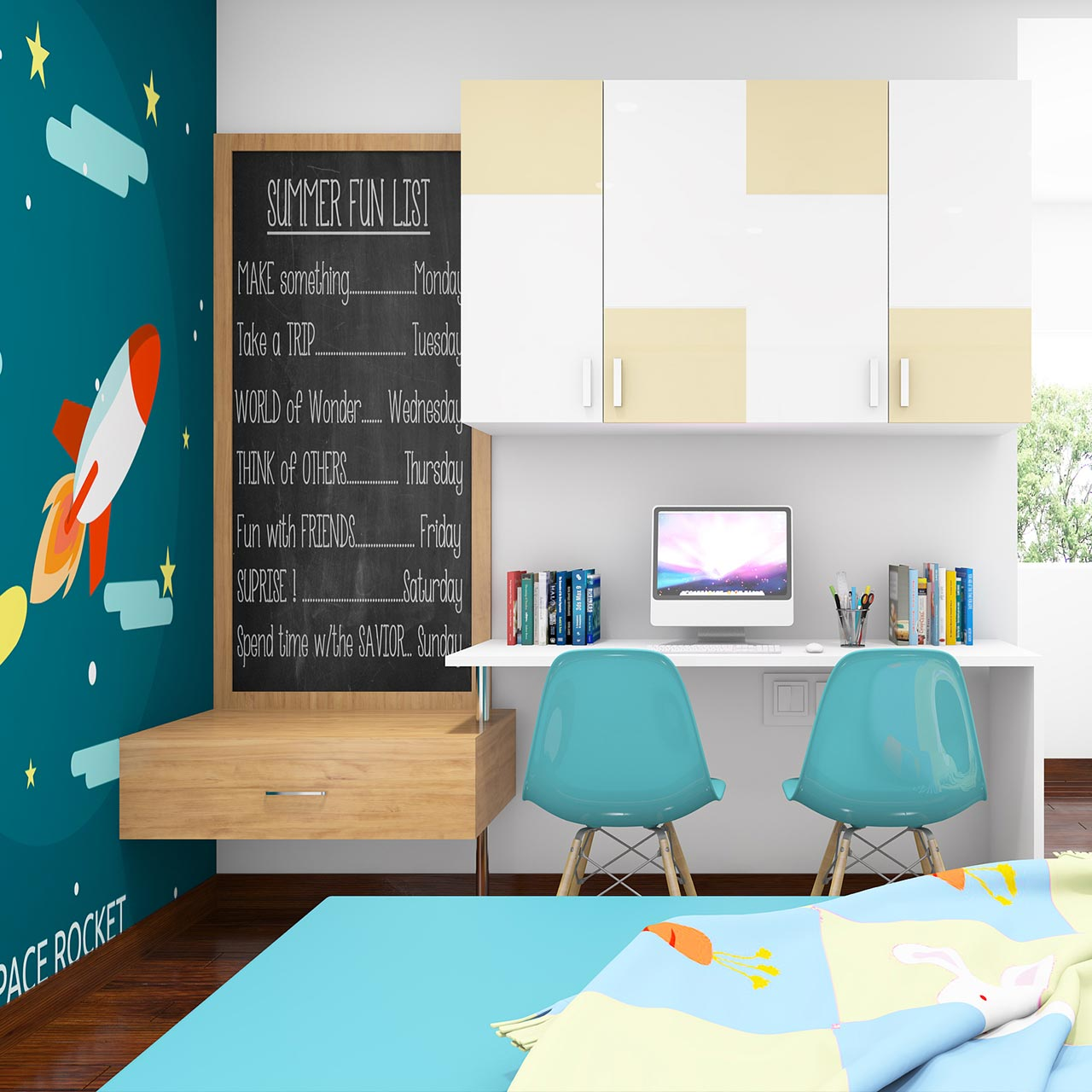 Kids bedroom furniture where multiple layered lighting caters to their different needs without seeming overwhelming in kids with cool kids bedroom theme ideas