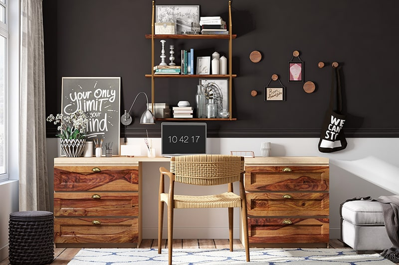 Bengaluru homes furniture trends 2020 with mix various wood types of wood laminates for a chic and elegant look