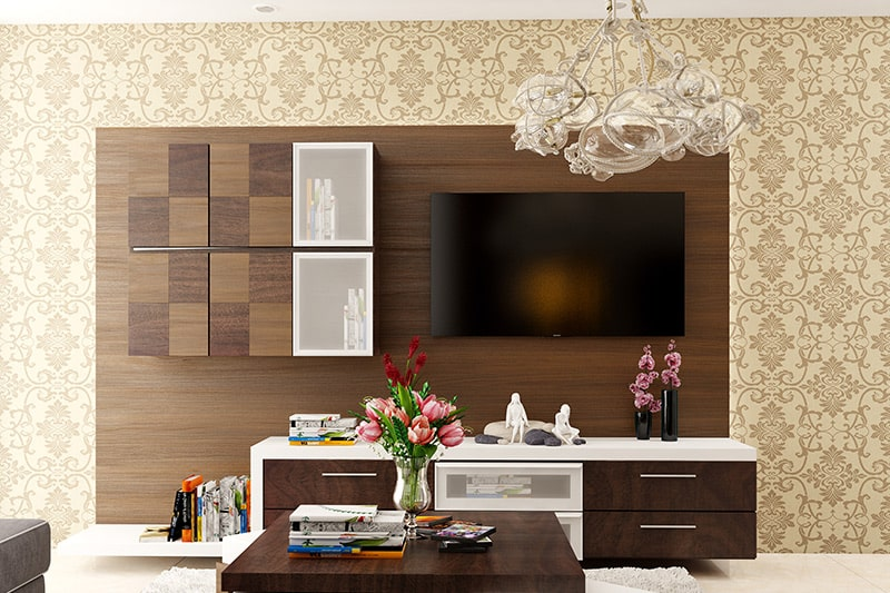 Contemporary wooden showcase design for small or medium-sized room for your home