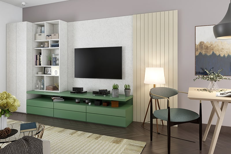 For a functional and fashionable living room choose a modular wooden showcase