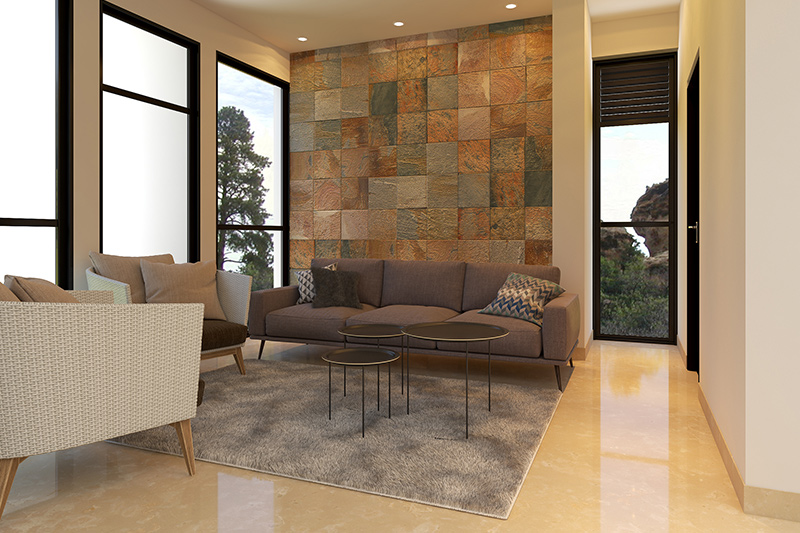 Decorative wall tiles for living room where there is brilliant arrangement of textural tiles in different shades of sand in best wall tiles for living room