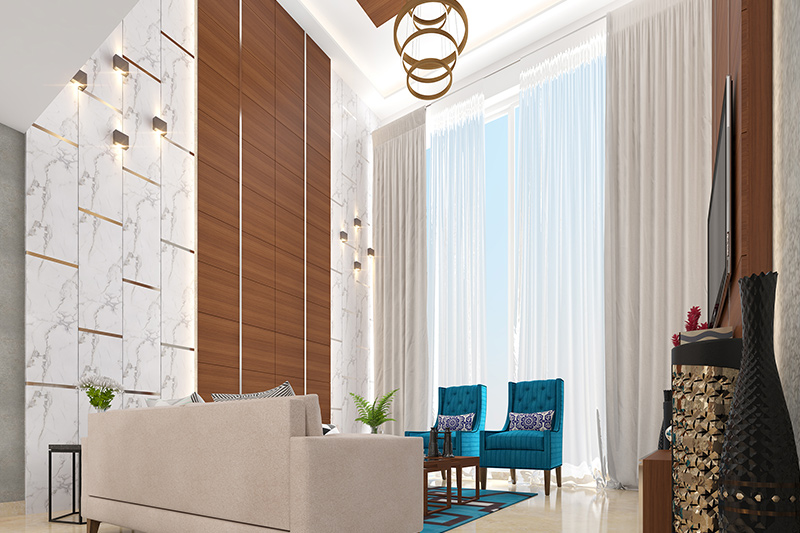 Living room wall tiles images where white marble tiles accentuated with lights are interspersed with a vertical panel of wood tiles for large wall tiles for living room