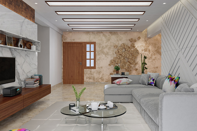 Wall tiles for living room interior with a feature wall in unfinished concrete tiles with the right lighting for wall tiles for small living room