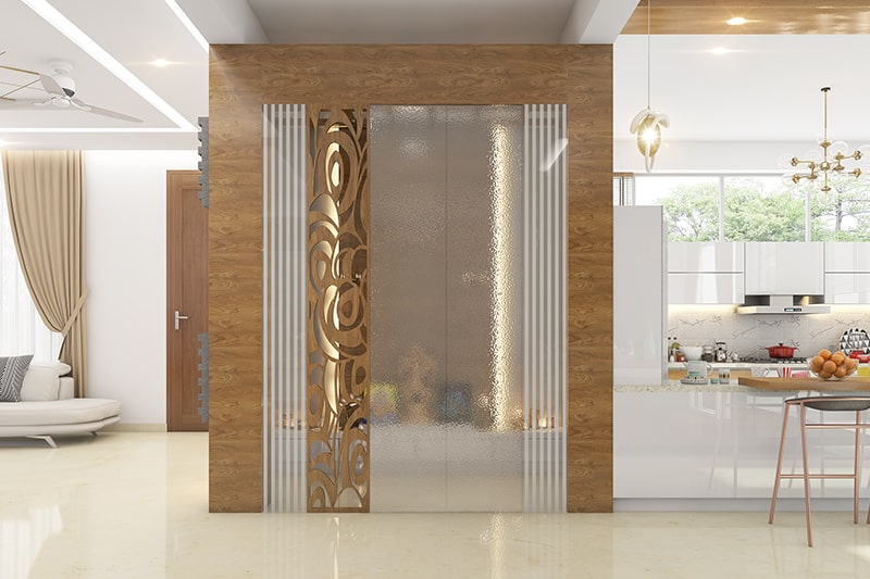 Modern pooja room designs for indian homes with glass doors is a graceful and elegant option