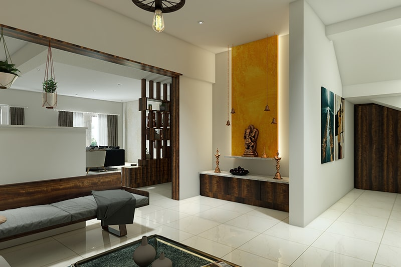 Modern pooja room design for indian home with the backlit panel is a great way to use light for a meditative vibe