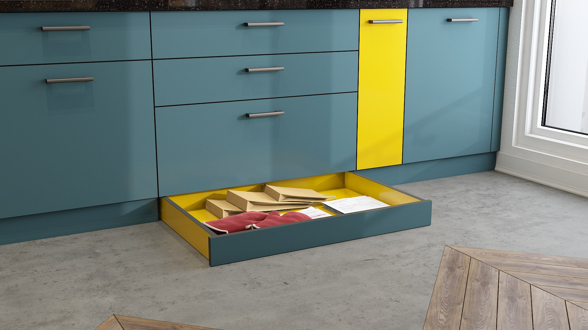 Maximize storage space in your modular kitchen with skirting drawers for small spaces
