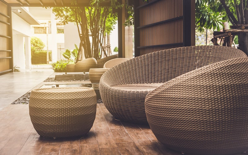 Balcony furniture design ideas with rattan furniture, it brings classical look in balconies