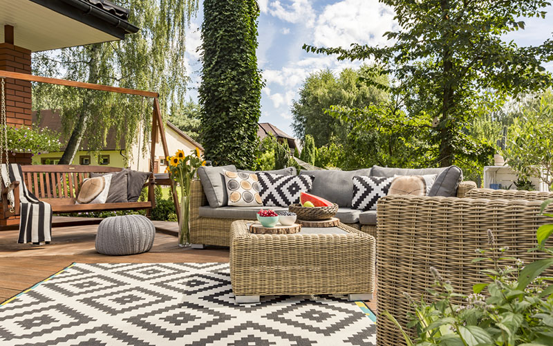 Outdoor balcony furniture design with coloured patterns in your balcony design